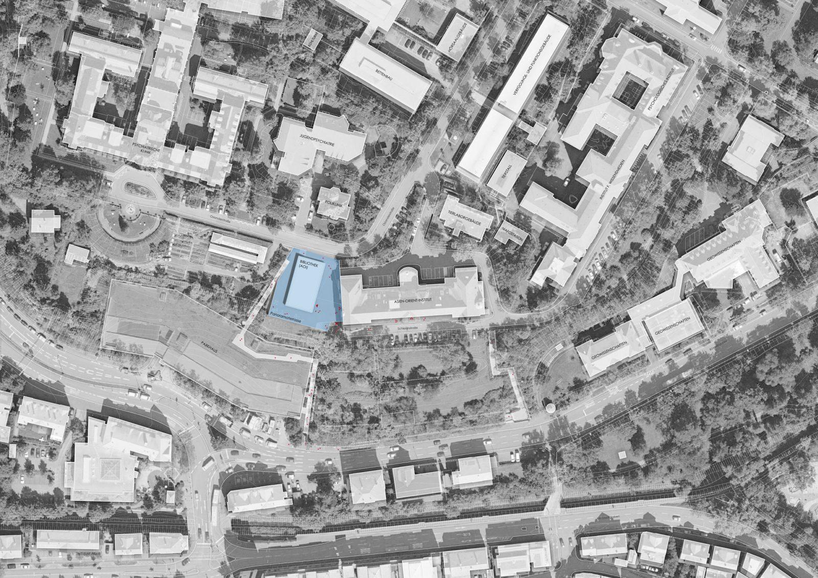 Lageplan Neubau Bibliotheksgebäude und Asien-Orient-Institut, Tübingen