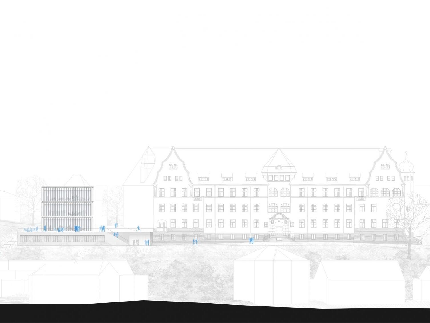 Ansicht Neubau Bibliotheksgebäude und Asien-Orient-Institut, Tübingen