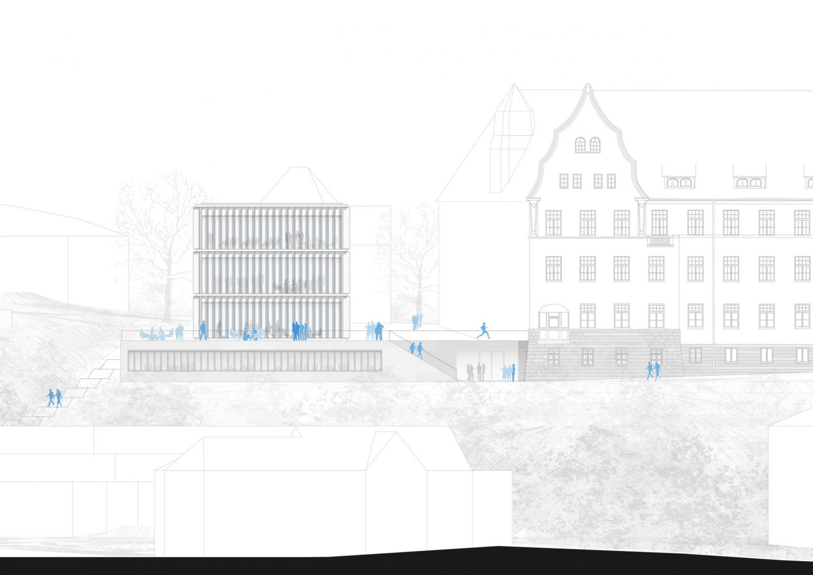 Ansicht Neubau Bibliotheksgebäude